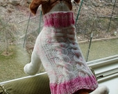Dog Sweater Hand Knit Peony Double Cable Medium