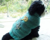 """Dog Sweater Hand Knit  And Embroidered Aqua Bouquet Large 16"""" Long"""
