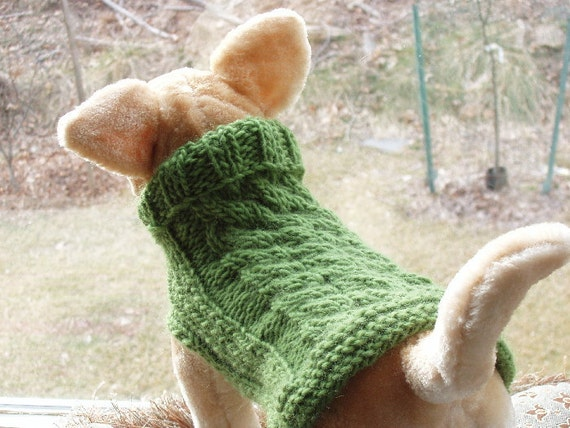 Dog Sweater Hand Knit Apple Green Cable Weave Merino Wool Small