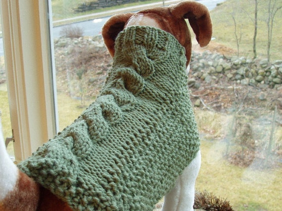 Dog Sweater Hand Knit Cable and Seed Stitch Medium