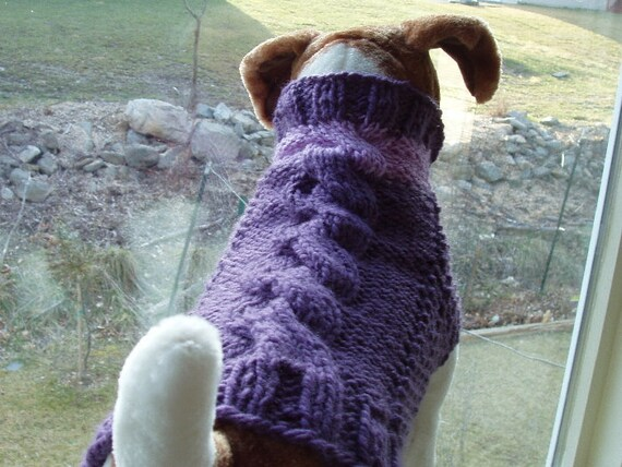 Dog Sweater Hand Knit Lilac Love Cable Medium