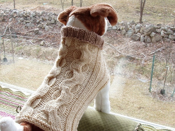 Dog Sweater Hand Knit Winding Cable Heather Medium