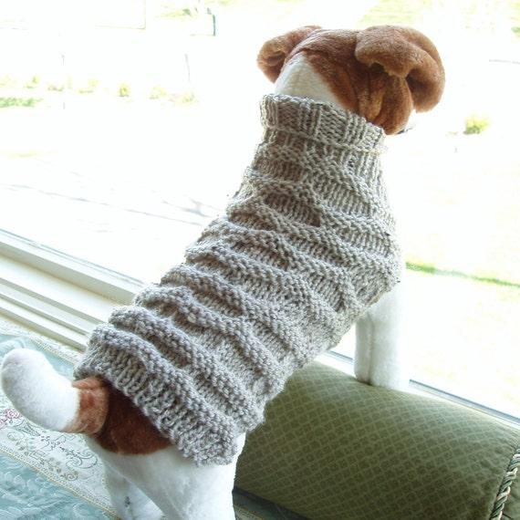 Dog Coat Hand Knit Honeycomb Medium Wool Blend
