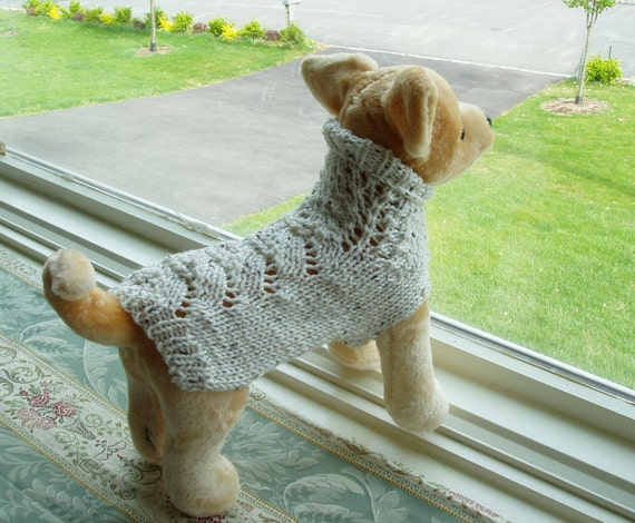 Dog Sweater Hand Knit Irish Fisherman Small