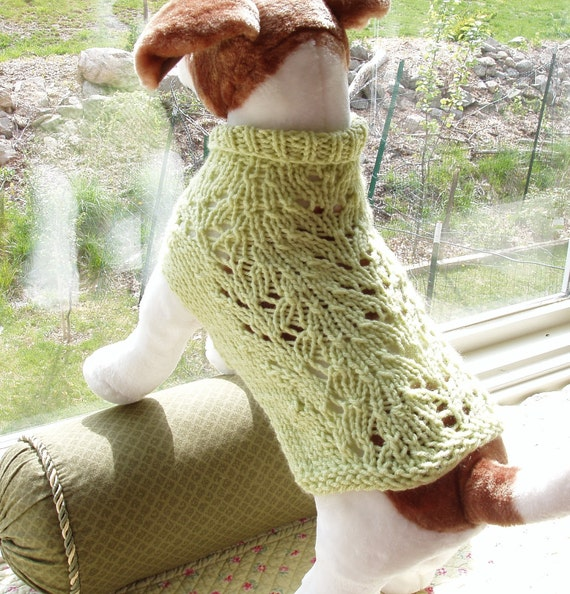 Dog Sweater Hand Knit Lacy Fern Small