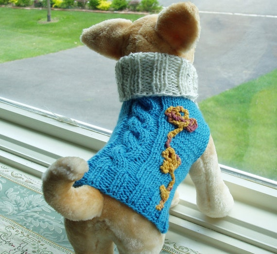 Dog Sweater Hand Knit Cable Layla  XSmall