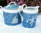RESERVED TO RACHEL Charming French Limoges Porcelain Cream and Sugar Jar and Jug Set -  Blue Crespières Collection - Home Decor