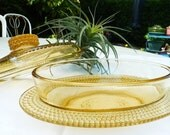 Lovely Vintage Amber Glass Butter Or Sauce Bowl