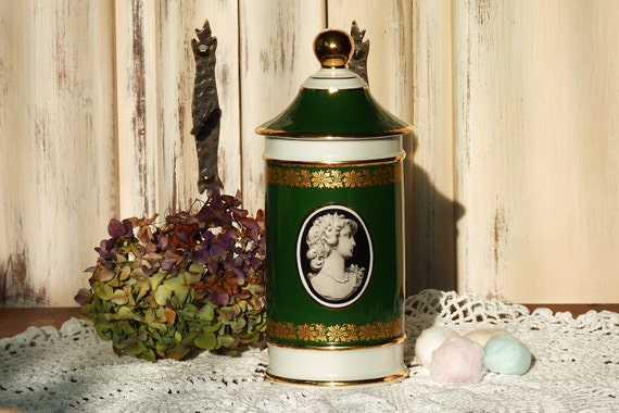 "Beautiful Vintage French Bathroom Jar, Limoges Porcelain  ""Amphora"""