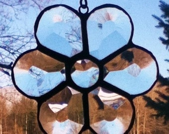 Stained Glass Beveled Victorian Flower Sun Catcher