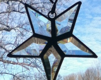 Beveled Stained Glass 5-Point Star Sun Catcher - Small