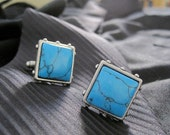 Turquoise Glass Mens Cuff Links