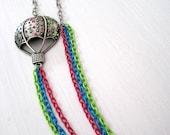 Rainbow Hot Air Balloon Statement Necklace