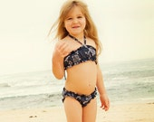 Made to Order Girls Cotton Bandeau Style Swimsuit Bikini Choose Your Size and Fabric