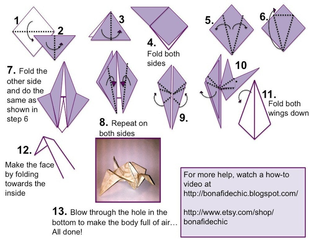 Diy make your own origami paper cranes set of by for How to make a star with paper step by step
