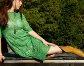 Upcycled Kelly Green Lace Dress