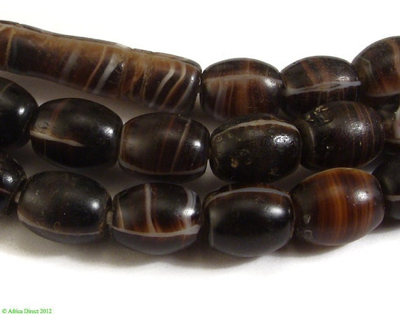 Coffee Bean Bohemian Wedding Glass Trade Beads African 64889 SALE WAS 25