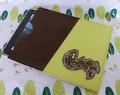 Lime Green Faux Leather and Brown Faux Suede Vinyl Fabric iPad Tablet Sleeve with Appliqued Dinosaur Embroidery on Front Pocket - nitchick
