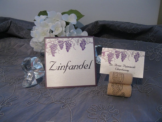 WINE COUNTRY themed grape place cards, escort cards, and table names