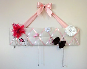 Original Girls French Jewelry Hanger and Bow Holder - 6 hooks - White Silky Fabric and Pink Ribbon - Princess - Ballerina