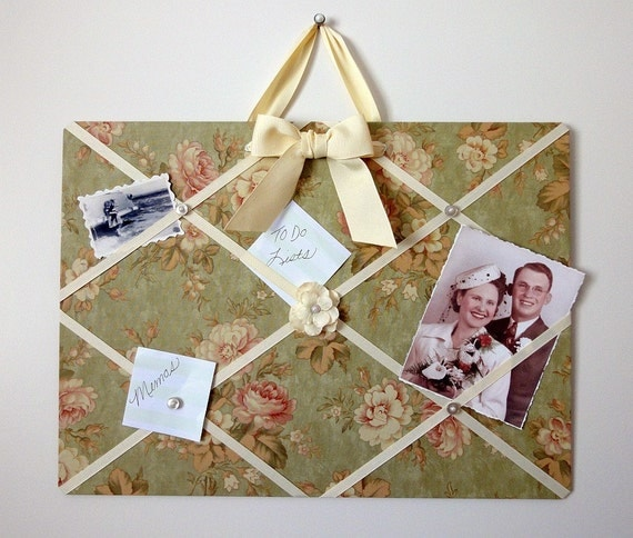 CLEARANCE - French Magnet Memo Board - Vintage Roses - Ready to Ship