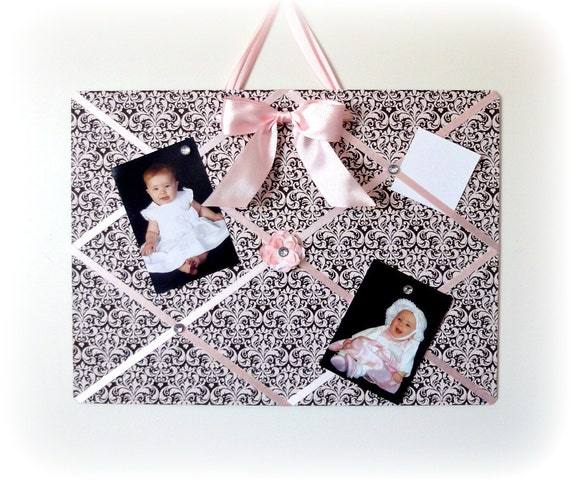 Magnetic French Memo Board - Pink and Brown Damask, holds hair clips also - LAST ONE - Ready To Ship