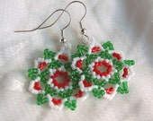 RESERVED Huichol-Lace Hand Beaded Snowflake Earrings Christmas Bounty