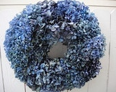 Blue Hydrangea Wreath On A Preserved Salal Base Now On Sale