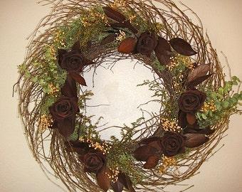 Preserved Rose Wreath   Elegant Wreath   Twig Wreath    Hand Crafted Wreath  Rose Wreath  Autumn Wreath