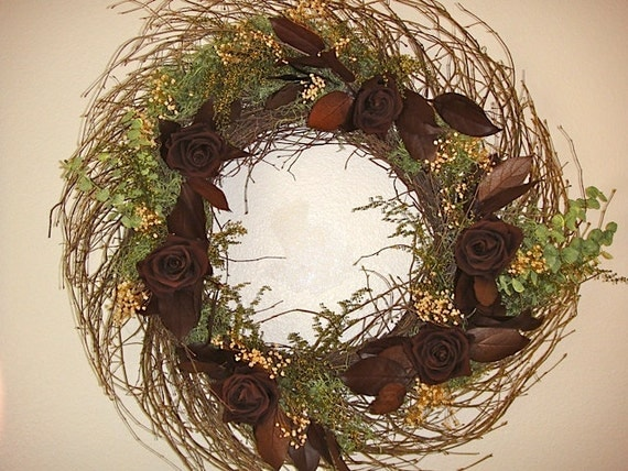 Preserved Rose Wreath   Elegant Wreath   Twig Wreath    Hand Crafted Wreath  Rose Wreath  Autumn Wreath