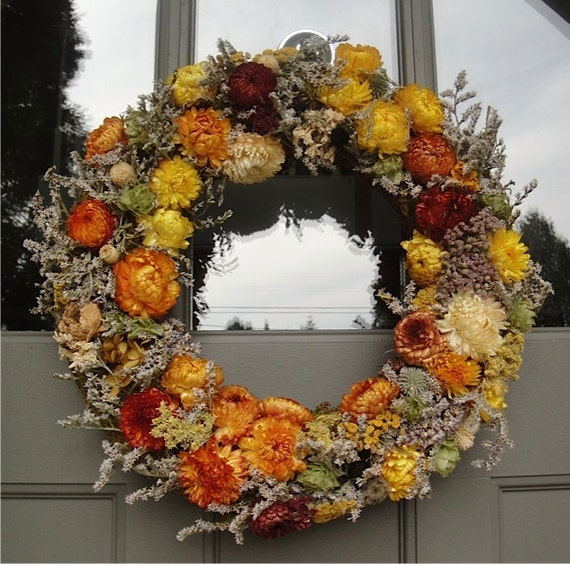 Strawflower Wreath Dried Floral Wreath Hand Crafted Wreath