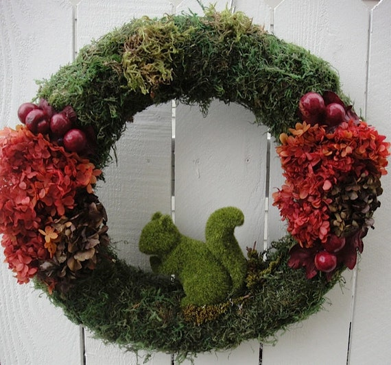 Moss Squirrel Wreath For Your Fall and Autumn Decor