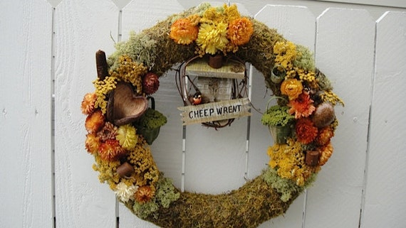 Moss Wreath   Natural Wreath  CLEARANCE SALE  Dried Floral Wreath   Bird House Wreath    Gift  Rustic Wreath Unique Wreath