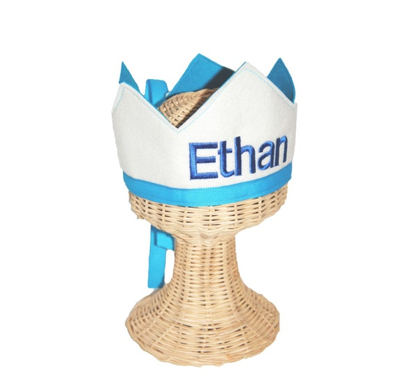 Wool Felt One Panel Name Embroidered Crown - White and Turquoise