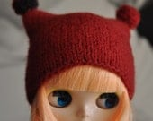 Hand Knitted Felted Hat for Blythe