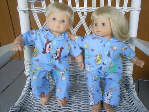 Baby Taz Bugs and tweety pajamas for american girl bitty baby twins 4 pieces