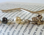 Beaded Pearl Bookmark, Silver Frog Bookmark, Sterling Silver Frog Prince Charm