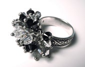 Black & White Crystal Ring, Size 7, DRASTICALLY REDUCED