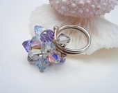 Pastel Crystal Ring, Sterling Silver Ring,  Size 6, Last One