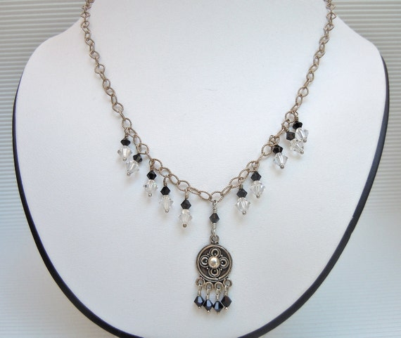Black Crystal Necklace, Sterling Silver Necklace, Y Necklace, Ethnic Jewelry