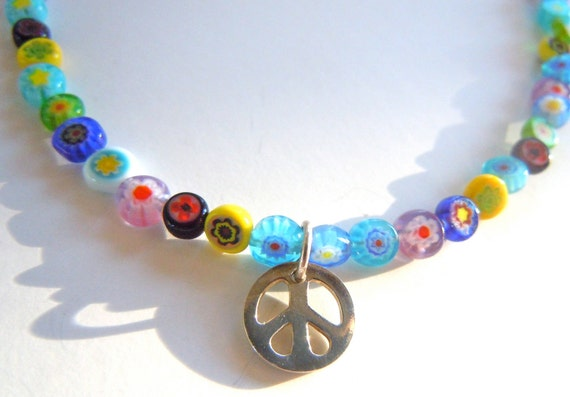 Colorful Ankle Bracelet, Millefiori Beads, Silver Peace Charm, Multicolored