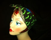 Reversible Rockabilly Psychobilly PinUp Bats and Leopard Print  Bandana Head Scarf