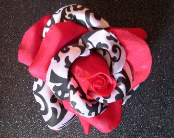 Gorgeous Rockabilly Red Damask Rose Hair Flower PinUp