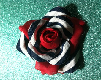 "Gorgeous Rockabilly Red Nautical Rose Hair Flower ""Sailors Beware"" PinUp"