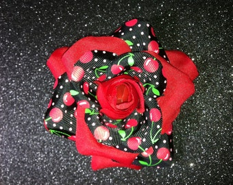 Gorgeous Rockabilly Red Rose Cherries Pattern Hair Flower PinUp