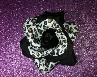 Gorgeous Rockabilly Black Snow Leopard Rose Hair Flower PinUp