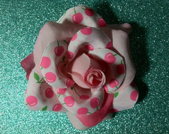 Gorgeous Rockabilly Pink Rose Cherries Pattern Hair Flower PinUp