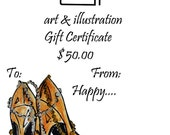 50.00 Gift Certificate Original Illustrations