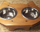 Cat Bowl Holder with Bowls, Choice of Color