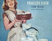 Vintage Cookbook 1940s HAMILTON BEACH Electric Mixer Recipe Booklet Advertising Ephemera